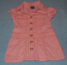 Pumpkin Patch Cute Girls Pink Denim Shirt Dress, Size 1 (12-18 Months)