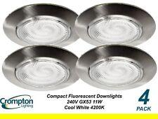 4 x Energy Saving Cool White Downlight Kits 240V 11W GX53 CFL 90mm Satin Chrome