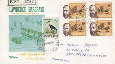 F 1081 Brisbane Qld 3 shilling  ibis stamp paying reg air Aug 1965  Hargrave FDC