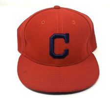 New Era Cleveland Indians Fitted Cap Adult Size 7 1/2 Red Blue Throwback