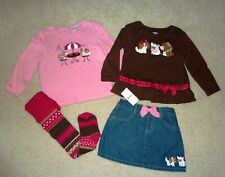 Gymboree Parisian Chic Set Outfit Skirt Tops Tights 3 3T