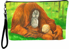 Orangutan  Pouch Wristlet with detachable strap - From my orginal Painting