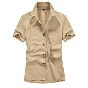 New Mens Short Sleeves Shirts Camisas Social Army Military Epaulet Cotton Shirts