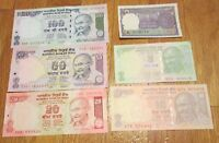 India Currency Gandhi 1 5 10 20 50 100 Rupees 6 Crisp Uncirculated Bank Notes