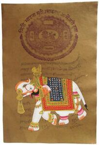 Indisches Gemälde ELEFANT orig. Stempel Amtspapier Steinfarben INDIEN Rajasthan