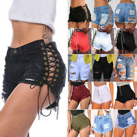 Women's High Waisted Short Mini Jeans Summer Ripped Jeans Denim Shorts Hot Pants