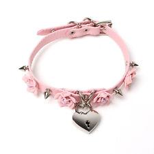 Harajuku Punk Handmade Rose Flower Spikes Collar BDSM Lock Key Choker Necklace