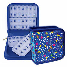 Pill Vitamins Organizer Travel Home 4-8weeks Case Blue Magnetic #POM-R100#
