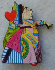 Alice in Wonderland Queen of Hearts Brooch or Scarf Pin Wood Multi-Color new
