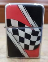 VINTAGE WORKING RONSON WIND II CHROME LIGHTER / RACING CHECKERED FLAG / NEW