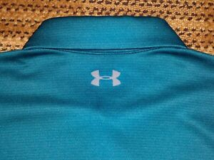 Men's NWOT UNDER ARMOUR HG Loose Polo L TEAL w/Gray UA Logos ~ Polyester