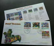 Singapore USA Expo Stampin The Future 2000 Child Painting Space UFO Alien (FDC)