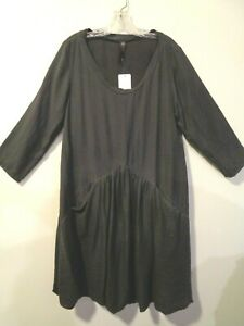 "CYNTHIA ASHBY S Gathered Pockets Artsy Balloon Hem Comfy Dress~ NWT 38"" bust USA"