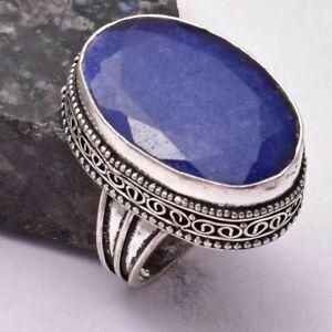 Blue Sapphire Ethnic Handmade Antique Design Ring Jewelry US Size-8.25 AR 34927