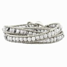 .925 Sterling Silver White Howlite Beaded and Leather Multi-wrap Bracelet