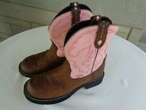 Justin *Gypsy* women's brown & pink leather cowboy boots 8 B