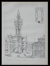 BUDAPEST, CASERNE DE POMPIERS - 1889 - PLANCHE ARCHITECTURE - KAUSER