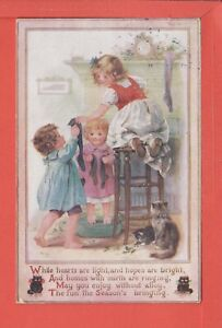 MAY BOWLEY hanging up the Christmas stockings p/u 1920 pub Raphael Tuck