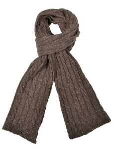 Ferruccio Vecchi Donegal Cable Knit Scarf Brown One Size Made In Italy, MSRP $85