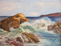 VINTAGE GORMICK AMERICAN MID CENTURY SIGNED Seascape OIL PAINTING COASTAL WAVES