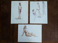 SET/3 Gorgeous Vintage AL RUBEN (1918-2011) Female Nude watercolor paintings!