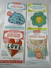 Crafting patterns. Crochet Collar,Flower Frame,Tattoo heart Brooch,Fabric Purse.