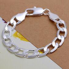 Fashion 925Sterling Solid Silver Men Jewelry 12Mm Chain Bracelet For Women H222