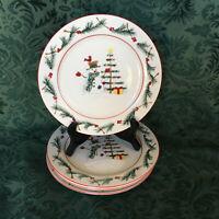 4 Salad Plates Farberware Holiday Snowman 4380 Christmas MW/DW/Oven Safe