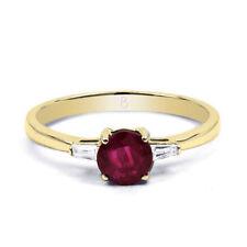 Anillos de joyería con gemas rojo de oro amarillo de compromiso