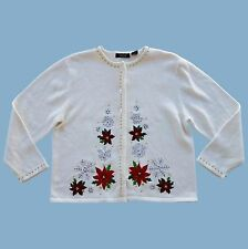 Crystal-Kobe Ugly Christmas Sweater Cardigan Beaded Sequin Poinsettia Large (L)