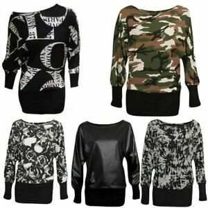 Women's Baggy Long Stretchy Shirt Ladies Long Sleeve Party Batwing Top UK 8-20