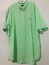 Ralph Lauren Size 3XLT/3GL Tall Long Lemon Green White Plaid Check Men Shirt