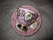 Vintage Royal Tuscan bone china pink & gold leaf pattern tea cup & saucer set