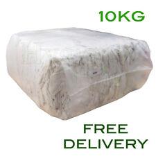 10Kg Bag of Rags White Tshirt Soft Cotton Hosiery Wipers Polishing Cloths