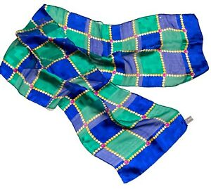 Vintage Silk Scarf Blue Green Women Head Wraps Summer Spring Stole MADE in ITALY