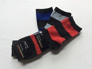 3 PAIRS BOYS STRIPED CREW SOCKS *SIZE 4-6* BLUE/GRAY/RED STRIPED *NEW WITH TAGS