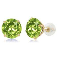 4.00 Ct Round Green Peridot 14K Yellow Gold Basket Stud Earrings 8mm