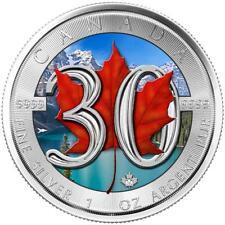 Kanada 5 Dollar 2018 30 Jahre Maple Leaf Jubiläums Ausgabe Farbe 1 Oz Silber ST