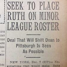 2 1936 newspapers BABE RUTH TURNS DOWN JOB with Washington Senators BASEBALL