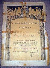 Ministro Della Guerra - Decreto Medaglia istituita a Ricordo - 1921
