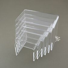"""Clear Acrylic 3/16"""" Medium Rectangle 6 Piece Riser Set Display Stands Qty 1"""