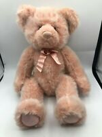 Russ Berrie Pink Teddy Bear Plush Kids Soft Stuffed Toy Animal Doll Bowtie
