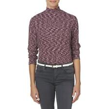 NWT Basic Editions Women's Mock Neck Top - Marled - Med - Winetasting