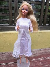 1980's MEXICO BARBIE FOREIGN DOLL SUPERSTAR ERA AURIMAT & WHITE LACE DRESS