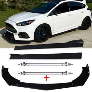 For Ford Focus RS Front Bumper Lip Splitter Spoiler + Side Skirt + Strut Rods A+