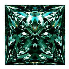 Loose Moissanite Diamond 4 Ring/Pendant 3.14 ct Si3/8.45Mm Blue Green Princess