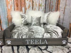 PERSONALISED DOG BED WITH CRUSHED VELVET BED & 6 CUSHIONS COMES IN 4 SIZES