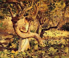 Oil painting theodore robinson - in the garden landscape autumn season on canvas