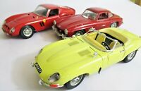 3 Burago Sports Cars. Ferrari GTO 1962, Mercedes 300SL 1954 & Jaguar 'E' 1961