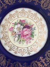 ROSENTHAL Caldwell Ivory China Cobalt Blue Gold Scalloped Plates Ornate Floral